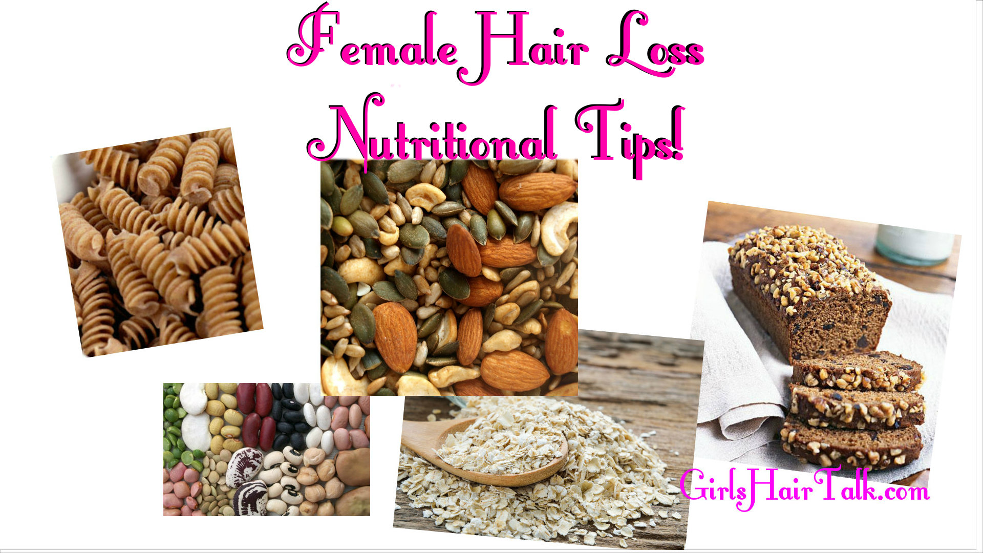 Nutrition pictures that help hair growth such as brown rice, 100% whole wheat pasta and wheat bread.