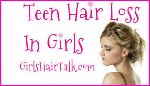 A teen looking down because her hair is thinning, and falling out.