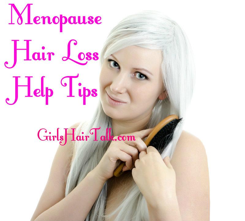 Menopause woman brushing her gray white hair.